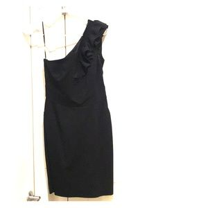 Trina Turk Black Off the Shoulder Cocktail Dress